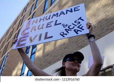 Philadelphia, PA, USA - June 14, 2018: A demonstrator protests ICE and the Trump Administration policy of separating migrant families at the U.S - Mexico border.
