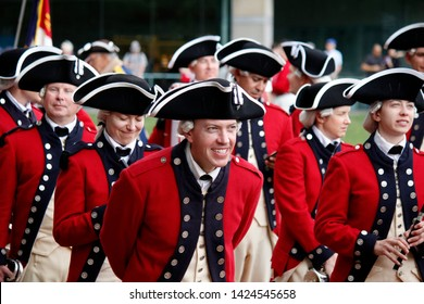 Philadelphia, PA / USA - June 14, 2019: The United States Army Old Guard Fife and Drum Corps commemorate Flag Day at the National Constitution Center in Philadelphia, Pennsylvania.