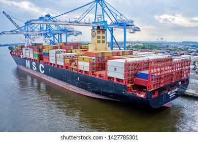 Philadelphia, PA / USA - June 18, 2019: 16.5 tons of cocaine worth $1 billion seized at Philadelphia port Cargo Ship MSC Gaynes