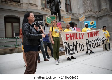 Philadelphia, PA/ USA - June 21, 2019: City Councilwoman Helen Gym joins Philly Thrive outside city hall following and explosion and the PES oil refinery in South Philadelphia