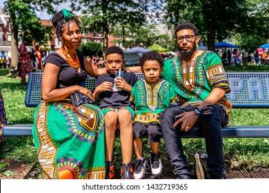 Philadelphia, PA / USA - June 22 2019: Juneteenth Parade Philadelpiha at Malcom X Park African American Independence Day
