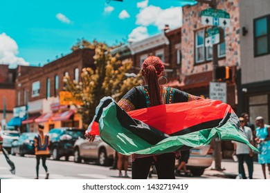 Philadelphia, PA / USA - June 22 2019: Juneteenth Parade Philadelpiha at Malcom X Park African American Independence Day