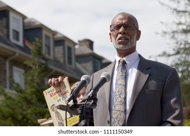Philadelphia, PA, USA - June 7, 2018; State Senator Art Haywood talks about his literacy projects at a dedication of a new pocket park and Little Free Library in the heart of the Mt Airy neighborhood.