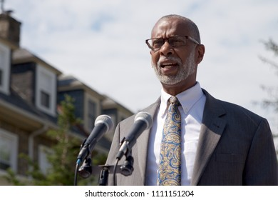 Philadelphia, PA, USA - June 7, 2018;  State Senator Art Haywood speaks at a dedication of a new pocket park and Little Free Library, in the heart of the Mt Airy neighborhood of Philadelphia, PA.