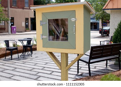 Philadelphia, PA, USA - June 7, 2018; Little Free Libraries and pocket parks are found throughout the liberal, eco-friendly neighborhood of Mt. Airy in Northwest Philadelphia, PA.