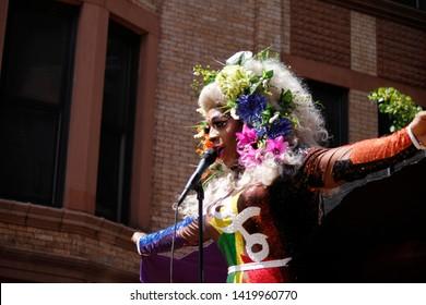 Philadelphia, PA / USA - June 9, 2019: Drag queen, Vincella, entertains during the Philly Pride Parade.