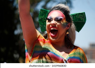 Philadelphia, PA / USA - June 9, 2019: A drag queen waves to the crowd during the Philly Pride Parade.