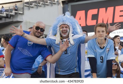 Philadelphia, PA USA - June 9, 2016: Fans of Uruguay attend Copa America Centenario game between Venezuela & Uruguay. Venezuela won 1 - 0
