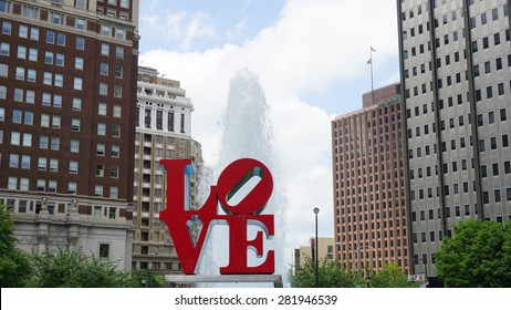 PHILADELPHIA, PA, USA - MAY 10: The Love Park named after the Love statue in Philadelphia, on May 10, 2015. The park is nicknamed for Robert Indiana's Love sculpture that was first placed in 1976.