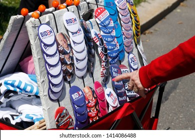 Philadelphia, PA / USA - May 18, 2019: An elderly upper middle class woman selects a political button ahead of Joe Biden's kick-off campaign rally for the 2020 United States presidential election.