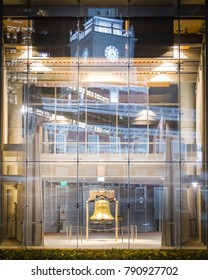 Philadelphia, PA / USA - November 30 2017: Liberty Bell with Independence Hall Reflection