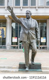 Philadelphia, PA, USA - November 7, 2017: The Mayor Frank Rizzo Statue stands outside the Municipal Services Building in Philadelphia.