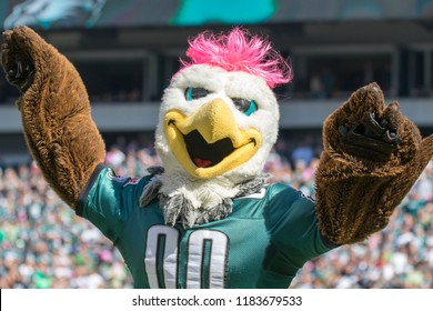 Philadelphia, PA / USA - October 11, 2015 : Philadelphia Eagles Mascot, Swoop celebrates on the sideline.