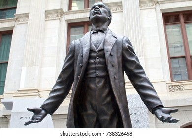 Philadelphia, PA, USA - October 13, 2017: The first statue of an African-American, civil rights activist and educator Octavius V. Catto was erected outside City Hall in Philadelphia, Pennsylvania.