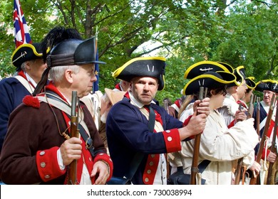 Philadelphia, PA, USA - October 7, 2017:  Revolutionary War era re-enactors portraying American soldiers are seen taking part in the 240th anniversary re-enactment of the Battle of Germantown.