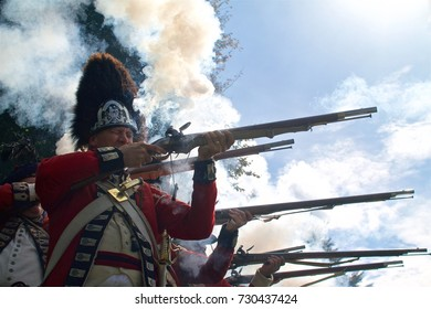 Philadelphia, PA, USA - October 7, 2017:  A Revolutionary War re-enactor portraying a British grenadier takes part in a reenactment of the Battle of Germantown on its 240th anniversary.