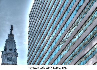 Philadelphia, Pa. USA, Sept. 19,2018: office building with the statue of William Penn in the Philadelphia City hall. Sept. 19, 2018 in Philadelphia, Pa. USA.