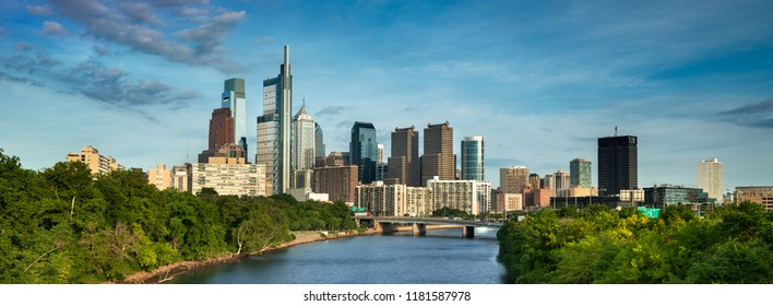 Philadelphia panorama cityscape downtown urban core skyscrapers over the Schuylkill River in Pennsylvania USA