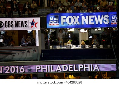 Philadelphia, PA/USA - July 25, 2016:  View of FOX news broadcast suite during the DNC Convention.