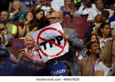 Philadelphia, PA/USA - July 25, 2016:  Convention attendee displays a ban TPP sign at the Democratic National Convention.