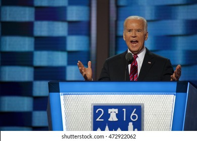 Philadelphia, PA/USA July 26, 2016: United States Vice President Joe Biden addresses the Democratic National Committee Convention.
