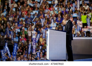 Philadelphia, PA/USA July 27, 2016: President Barack Obama addresses the Democratic National Committee Convention.