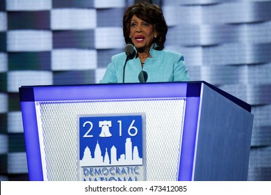 Philadelphia, PA/USA July 27, 2016: Congresswoman Maxine Waters addresses the Democratic National Committee Convention.