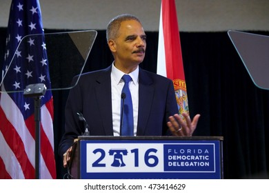 Philadelphia, PA/USA July 27, 2016: Former US Attorney General Eric H. Holder, Jr. addresses the Florida Democratic Delegation at the early morning Florida breakfast.