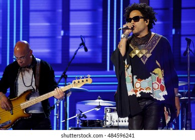 Philadelphia, PA/USA - July 27, 2016:  Lenny Kravitz performing at the Democratic National Convention.