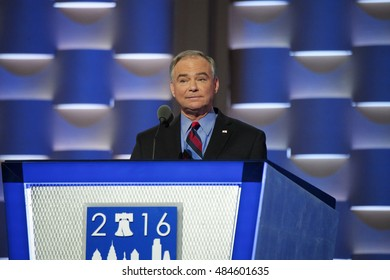 Philadelphia, PA/USA - July 27, 2016:  Senator Tim Kaine (Hillary Clinton running mate) addresses the Democratic National Convention.