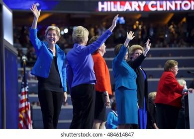 Philadelphia, PA/USA - July 27, 2016:  Senator Elizabeth Warren on stage with Women of the US Senate addressed the Democratic National Convention.