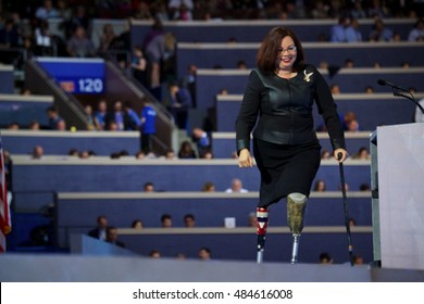 Philadelphia, PA/USA - July 27, 2016:  Congresswoman Lieutenant Colonel Tammy Duckworth walks to the podium at the Democratic National Convention.