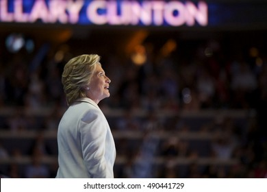 Philadelphia, PA/USA July 28, 2016: Democratic Presidential Nominee Hillary Clinton addresses the Democratic National Committee Convention. She officially accepted the DNC nomination.
