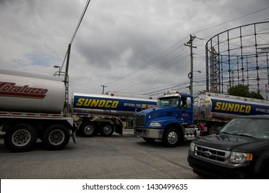 Philadelphia, PA/USA - June 18 2019- Members of Philly Thrive and residents of South Philadelphia block truck traffic in and out of the Philadelphia Energy Solutions refinery.
