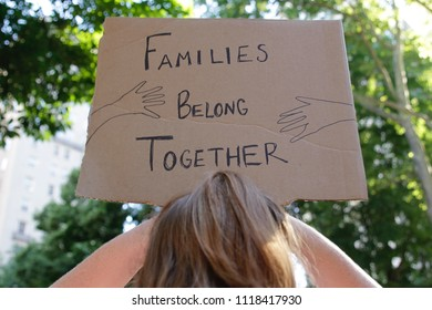 Philadelphia, PA,USA - June 19, 2018: Thousands protest the Trump Administration policy of separating immigrant children and their parents at the U.S.-Mexico border.