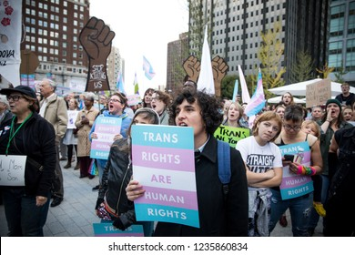 Philadelphia, PA/USA - October 23, 2018- Hundreds gather in Love Park in Philadelphia in response to the Trump administrations memo defining gender as an unchangable biological characteristic