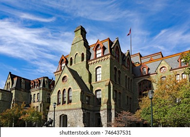 PHILADELPHIA, PA/USA - OCTOBER 28, 2017:  The green serpentine stone on College Hall, on the campus of the University of Pennsylvania, one of the oldest campuses in America.