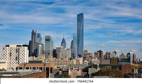 PHILADELPHIA, PA/USA - OCTOBER 28, 2017:  The architecturally interesting skyline of downtown Philadelphia, PA.