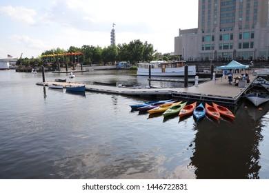 Philadelphia, Pennsylvania, 7/7/2019: Beautiful Sunday afternoon in Penn's landing with Latino festival