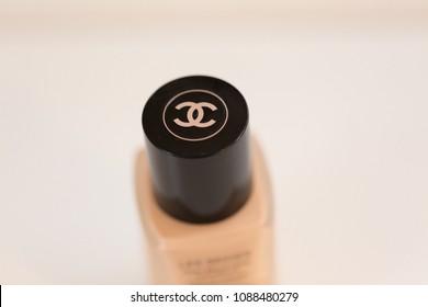 Philadelphia, Pennsylvania, April 30 2018: Close up of Chanel foundation sold by Sephora
