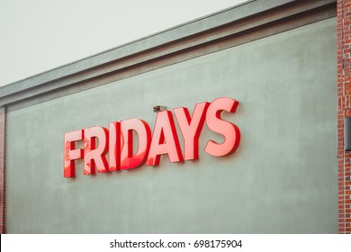 Philadelphia, Pennsylvania - Aug 16, 2017: Fridays restaurant sign