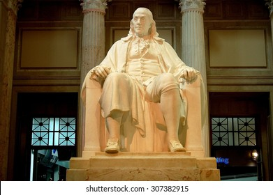 Philadelphia, Pennsylvania - August 23, 2009:  Seated sculpture of Benjamin Franklin at the Franklin Institute Museum *