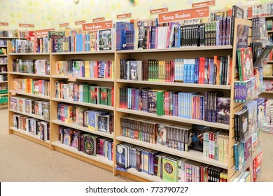 Philadelphia, Pennsylvania December 12 2017: A variety of children's books are placed on the shelves of the Barnes & Noble Bookstore