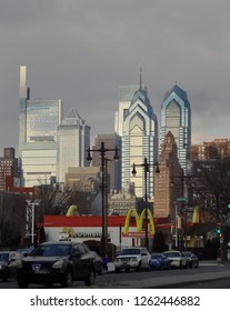 Philadelphia, Pennsylvania - December 17, 2018: The city's five tallest buildings. From left: #1, Comcast Technology Center; #5, BNY Mellon; #2, Comcast Center; #3, Liberty One; #4, Liberty Two.