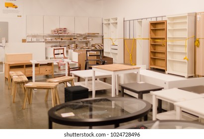 Philadelphia Pennsylvania February 10, 2018: A sample of the interior in IKEA store, IKEA was founded in of Sweden in 1943, IKEA to have large chain stores around the world
