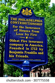 Philadelphia, Pennsylvania - June 25, 2013:  Historic sign in front of the Philadelphia Contributorship, America's oldest fire insurance company