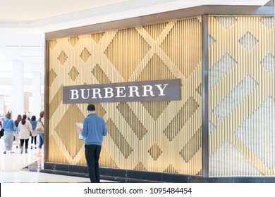 Philadelphia, Pennsylvania, May 19 2018: Exterior and signage of the Burberry store at King of Prussia Mall. a famous and luxury British fashion brand