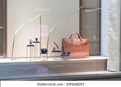 Philadelphia, Pennsylvania, May 19 2018: CARTIER fashion store in USA. Cartier is a French luxury goods conglomerate company and sells jewellery and watches.
