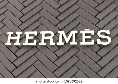Philadelphia, Pennsylvania, May 19 2018: Logo of Hermes store, Hermes is a world famous luxury fashion couture.