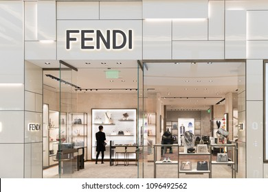 Philadelphia, Pennsylvania, May 19 2018: Fendi store front. Fendi is an Italian luxury fashion house producing fur, ready-to-wear, leather goods, shoes, fragrances, and accessories.